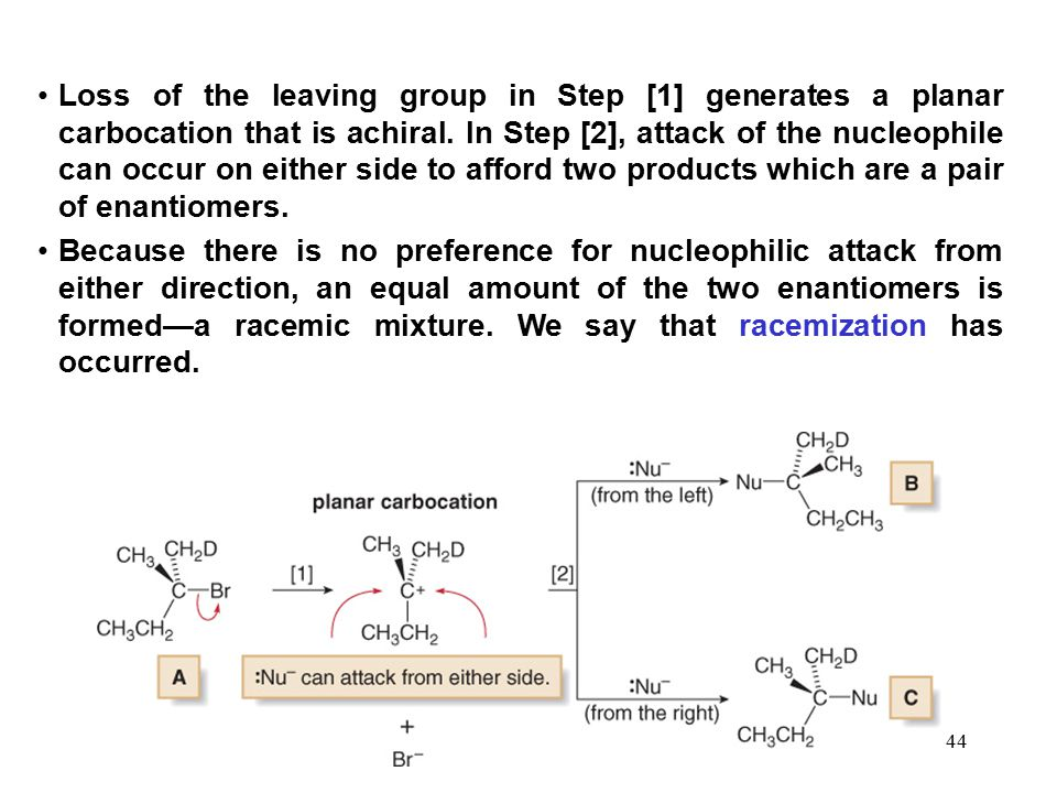 Loss of the leaving group in Step [1] generates a planar carbocation that is achiral. In Step [2], attack of the nucleophile can occur on either side to afford two products which are a pair of enantiomers.